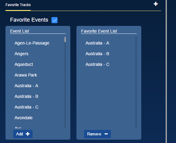 Favorite Tracks Preferences